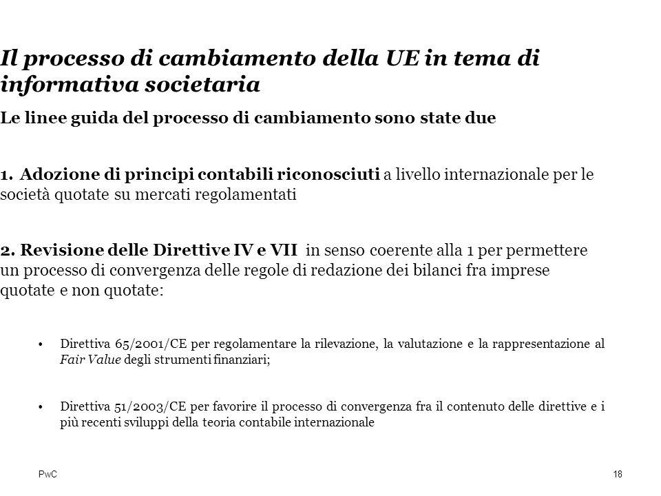 PwC Il processo di cambiamento della UE in tema di informativa societaria Le linee guida del processo di cambiamento sono state due 1.Adozione di prin