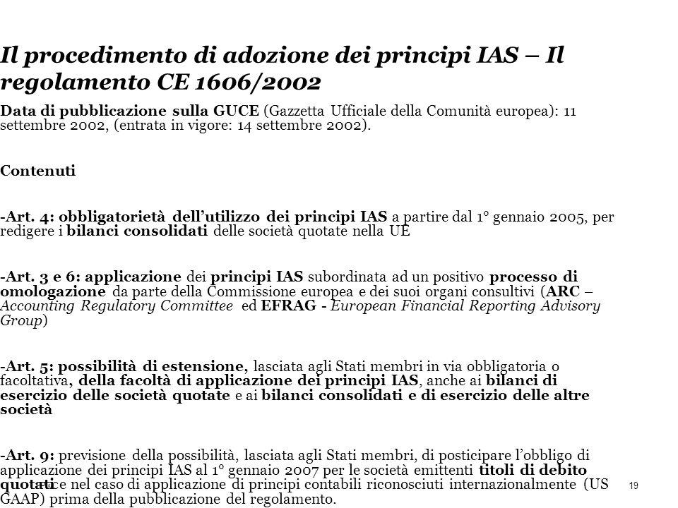 PwC Il procedimento di adozione dei principi IAS – Il regolamento CE 1606/2002 Data di pubblicazione sulla GUCE (Gazzetta Ufficiale della Comunità eur