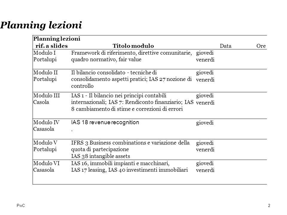 PwC Planning lezioni rif. a slidesTitolo moduloDataOre Modulo I Portalupi Framework di riferimento, direttive comunitarie, quadro normativo, fair valu