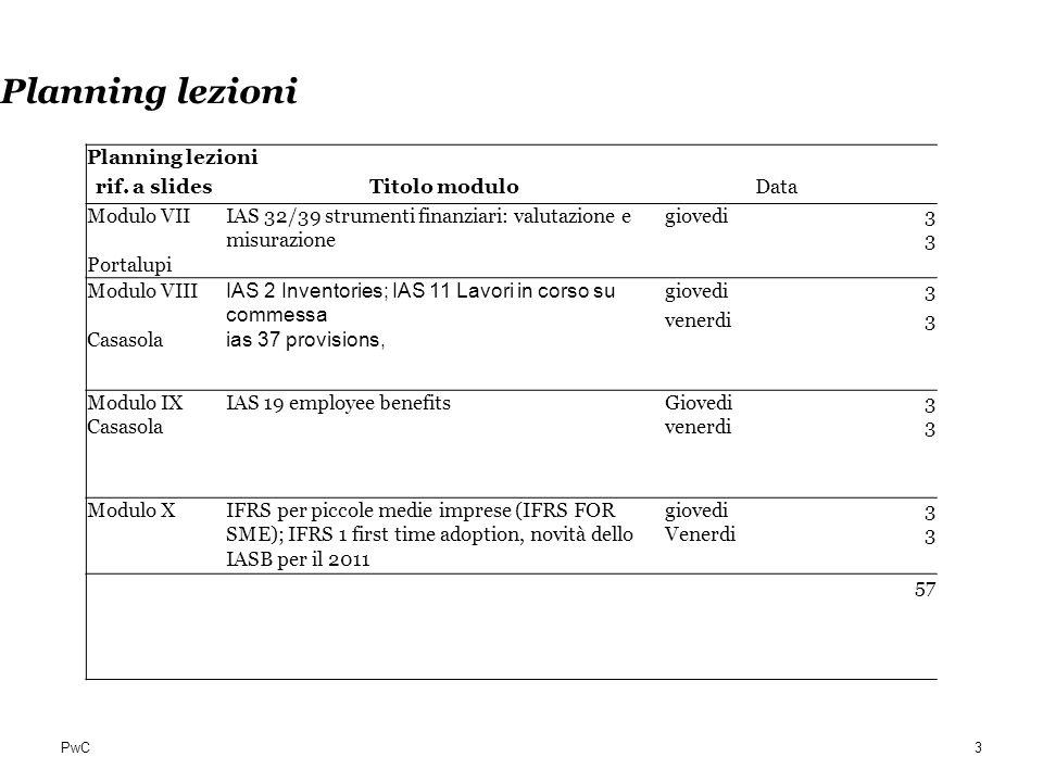 PwC Criteri di valutazione Molti standards hanno: il minore o il maggiore tra due criteri alcuni richiedono il costo, altri il FV alcuni consentono la scelta tra costo e FV Nuovi criteri di valutazione Costo rivalutato (fair value) Fair value con contropartita il conto economico Amortised cost Maggiore utilizzo di tecniche di valutazione finanziaria (DCF) per attività e passività finanziarie 54