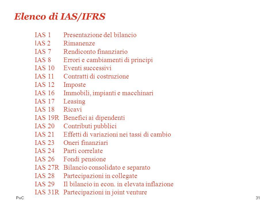 PwC31 IAS 1 Presentazione del bilancio I AS 2 Rimanenze IAS 7Rendiconto finanziario IAS 8 Errori e cambiamenti di principi IAS 10 Eventi successivi IA