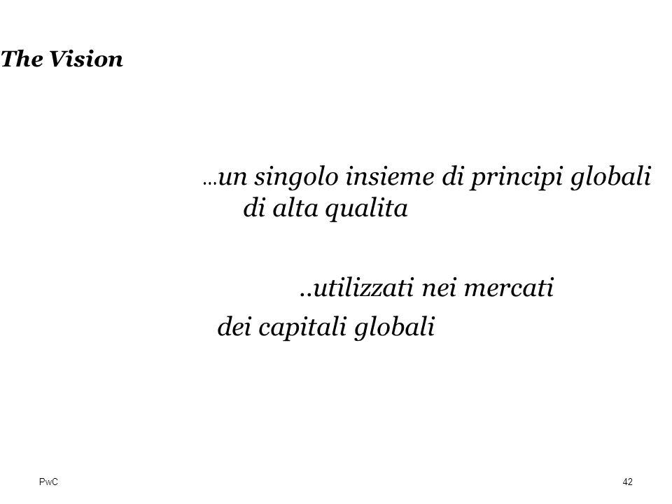 PwC The Vision … un singolo insieme di principi globali di alta qualita..utilizzati nei mercati dei capitali globali 42