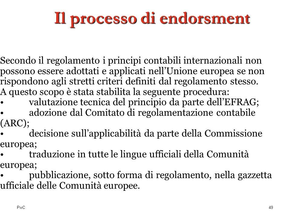 PwC Secondo il regolamento i principi contabili internazionali non possono essere adottati e applicati nellUnione europea se non rispondono agli stret