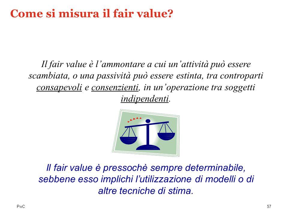 PwC Il fair value è lammontare a cui unattività può essere scambiata, o una passività può essere estinta, tra controparti consapevoli e consenzienti,