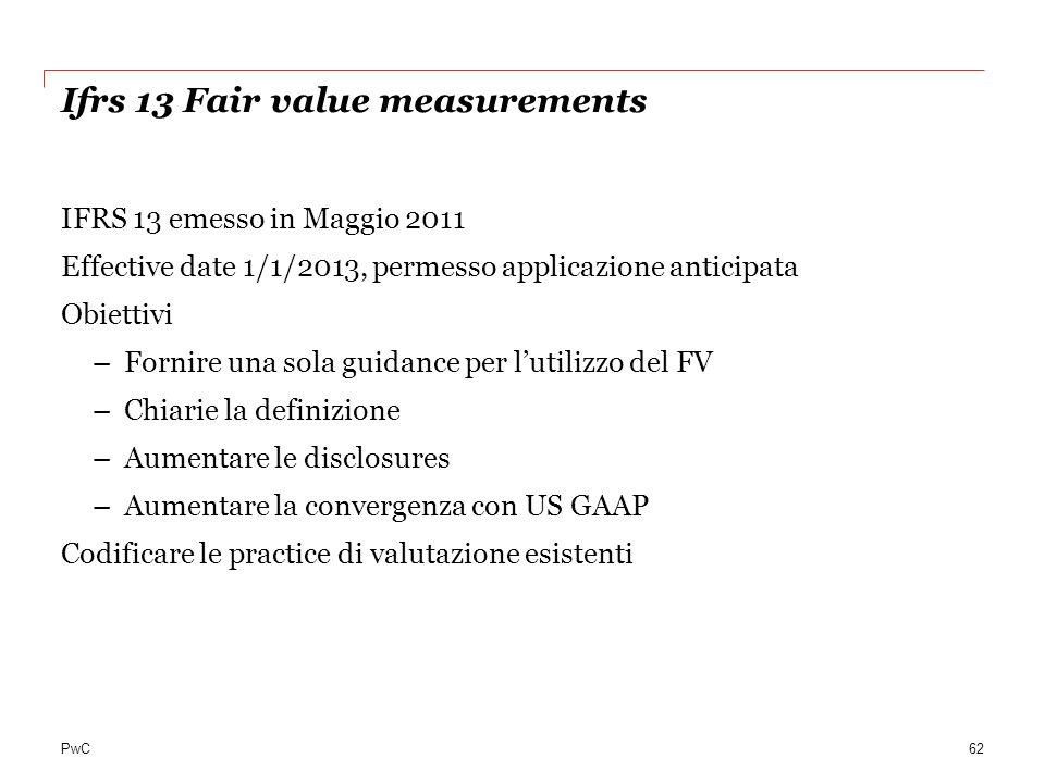 PwC Ifrs 13 Fair value measurements IFRS 13 emesso in Maggio 2011 Effective date 1/1/2013, permesso applicazione anticipata Obiettivi –Fornire una sol