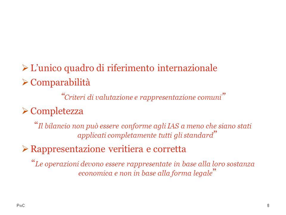 PwC Perchè IAS/IFRS? Lunico quadro di riferimento internazionale Comparabilità Criteri di valutazione e rappresentazione comuni Completezza Il bilanci