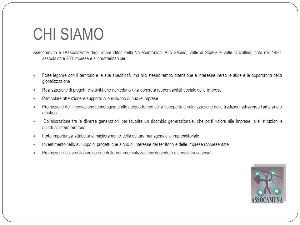 CHI SIAMO Assocamuna è lAssociazione degli imprenditori della Vallecamonica, Alto Sebino, Valle di Scalve e Valle Cavallina, nata nel 1996, associa ol