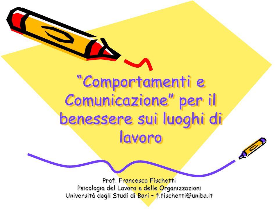 Comportamenti e Comunicazione per il benessere sui luoghi di lavoro Prof. Francesco Fischetti Psicologia del Lavoro e delle Organizzazioni Università
