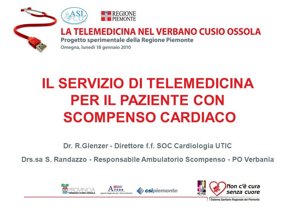 IL SERVIZIO DI TELEMEDICINA PER IL PAZIENTE CON SCOMPENSO CARDIACO Responsabili Clinici della sperimentazione: Direttore FF: Dr R.