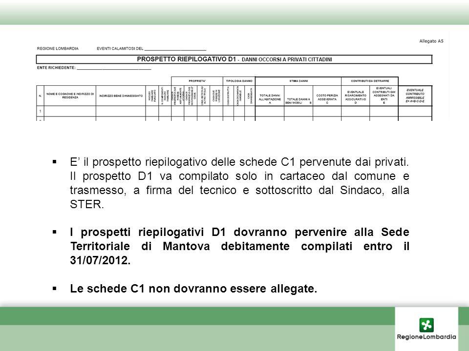 E il prospetto riepilogativo delle schede C1 pervenute dai privati. Il prospetto D1 va compilato solo in cartaceo dal comune e trasmesso, a firma del