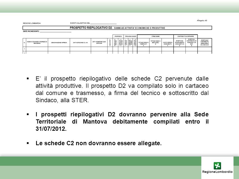 E il prospetto riepilogativo delle schede C2 pervenute dalle attività produttive. Il prospetto D2 va compilato solo in cartaceo dal comune e trasmesso