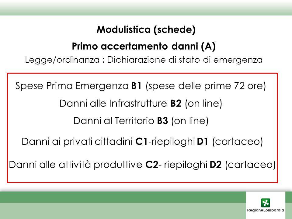 Modulistica (schede) Danni ai privati cittadini C1 -riepiloghi D1 (cartaceo) Danni alle attività produttive C2 - riepiloghi D2 (cartaceo) Primo accertamento danni (A) Legge/ordinanza : Dichiarazione di stato di emergenza Spese Prima Emergenza B1 (spese delle prime 72 ore) Danni alle Infrastrutture B2 (on line) Danni al Territorio B3 (on line)