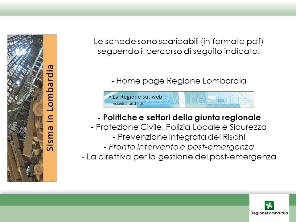 Le schede sono scaricabili (in formato pdf) seguendo il percorso di seguito indicato: - Home page Regione Lombardia - Politiche e settori della giunta regionale - Protezione Civile, Polizia Locale e Sicurezza - Prevenzione Integrata dei Rischi - Pronto Intervento e post-emergenza - La direttiva per la gestione del post-emergenza