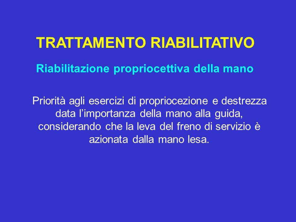 TRATTAMENTO RIABILITATIVO Riabilitazione propriocettiva della mano Priorità agli esercizi di propriocezione e destrezza data limportanza della mano al