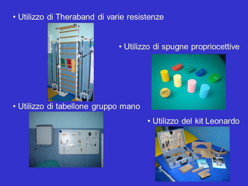 Utilizzo di Theraband di varie resistenze Utilizzo di spugne propriocettive Utilizzo di tabellone gruppo mano Utilizzo del kit Leonardo