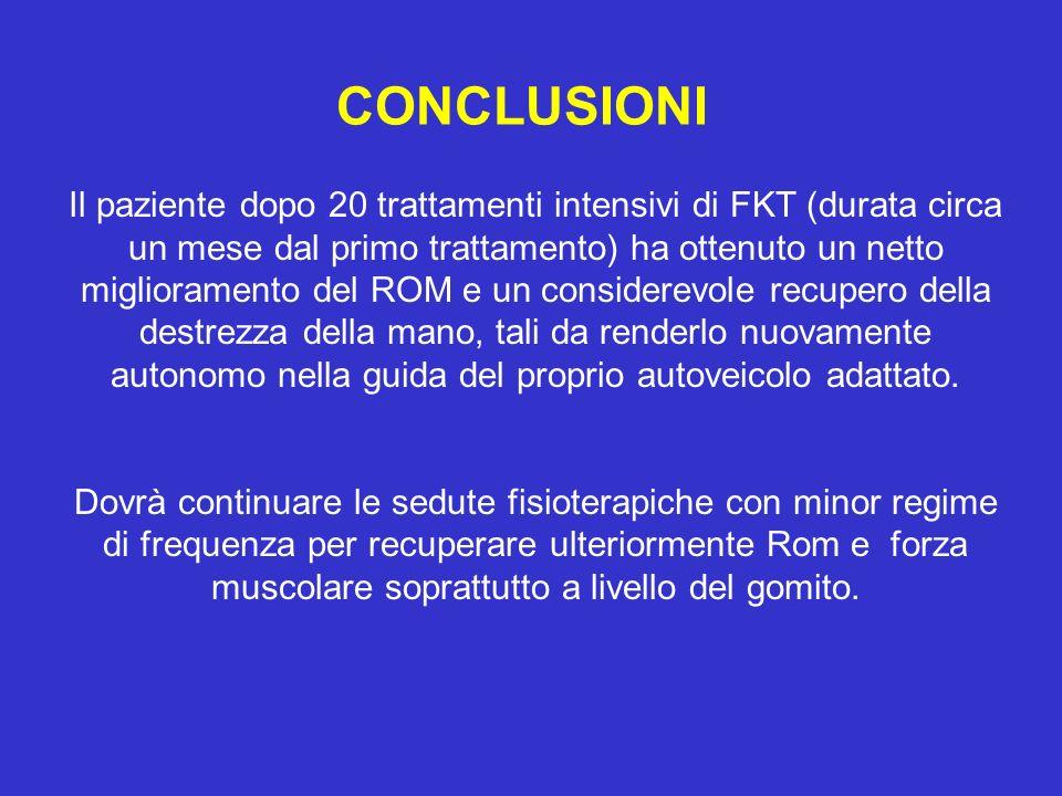 CONCLUSIONI Il paziente dopo 20 trattamenti intensivi di FKT (durata circa un mese dal primo trattamento) ha ottenuto un netto miglioramento del ROM e
