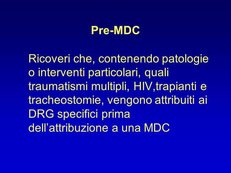 Ricoveri che, contenendo patologie o interventi particolari, quali traumatismi multipli, HIV,trapianti e tracheostomie, vengono attribuiti ai DRG spec