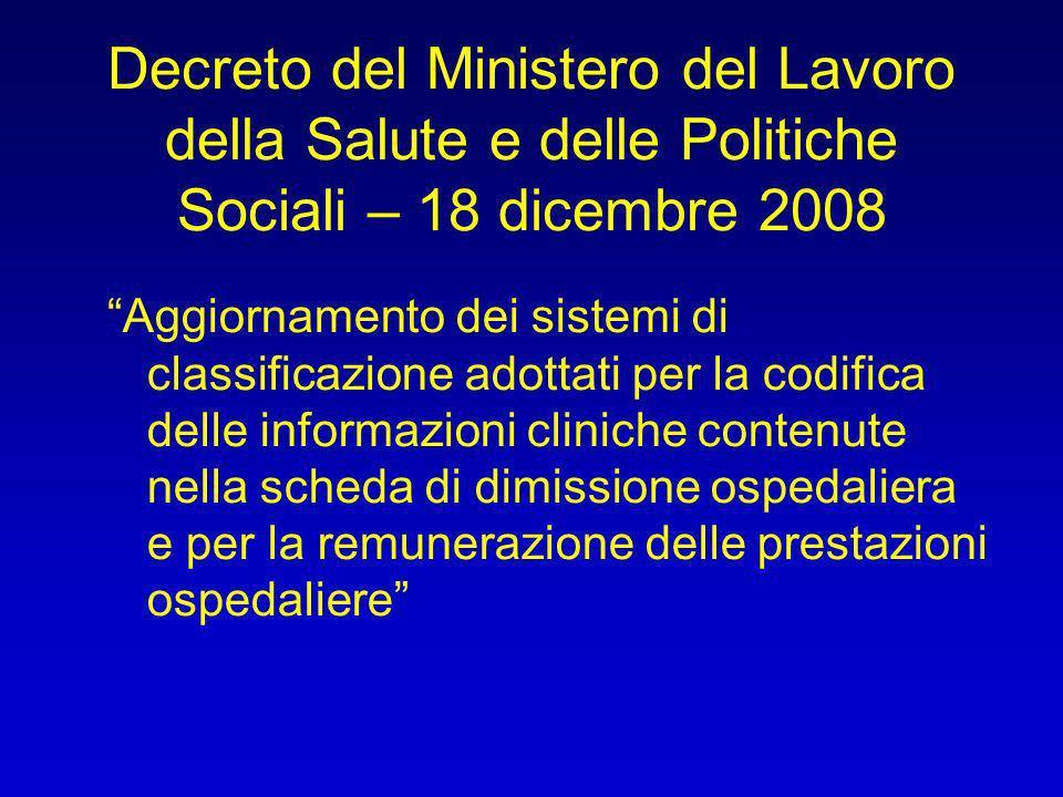 Decreto del Ministero del Lavoro della Salute e delle Politiche Sociali – 18 dicembre 2008 Aggiornamento dei sistemi di classificazione adottati per l