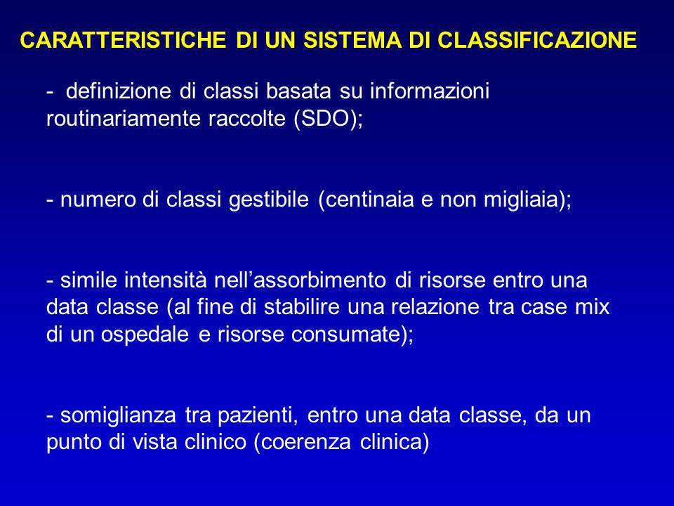 - definizione di classi basata su informazioni routinariamente raccolte (SDO); - numero di classi gestibile (centinaia e non migliaia); - simile inten