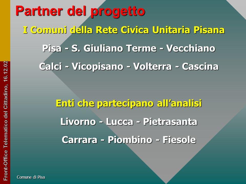 Comune di Pisa Introiti in servizi e finanziamenti per il Progetto CiTel Partner privati 1.093.0002.116.343.110 Finanziamento da parte del e-gov 630.0001.219.850.100 Finanziamento richiesto alla Regione 303.028586.744.026 totale importi esterni per il progetto 2.026.0283.922.937.235 Front-Office Telematico del Cittadino, 16.12.02