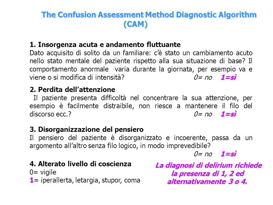 The Confusion Assessment Method Diagnostic Algorithm (CAM) 1. Insorgenza acuta e andamento fluttuante 1=sì Dato acquisito di solito da un familiare: c