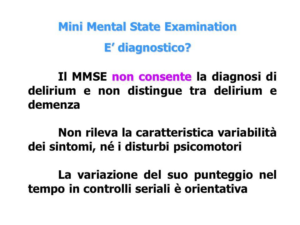 non consente Il MMSE non consente la diagnosi di delirium e non distingue tra delirium e demenza Non rileva la caratteristica variabilità dei sintomi,