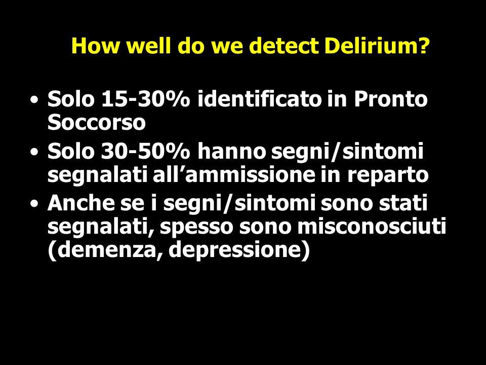 How well do we detect Delirium? Solo 15-30% identificato in Pronto Soccorso Solo 30-50% hanno segni/sintomi segnalati allammissione in reparto Anche s