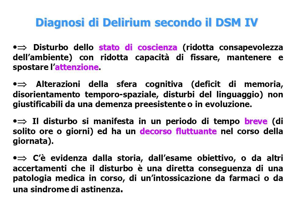Diagnosi di Delirium secondo il DSM IV stato di coscienza attenzione Disturbo dello stato di coscienza (ridotta consapevolezza dellambiente) con ridot