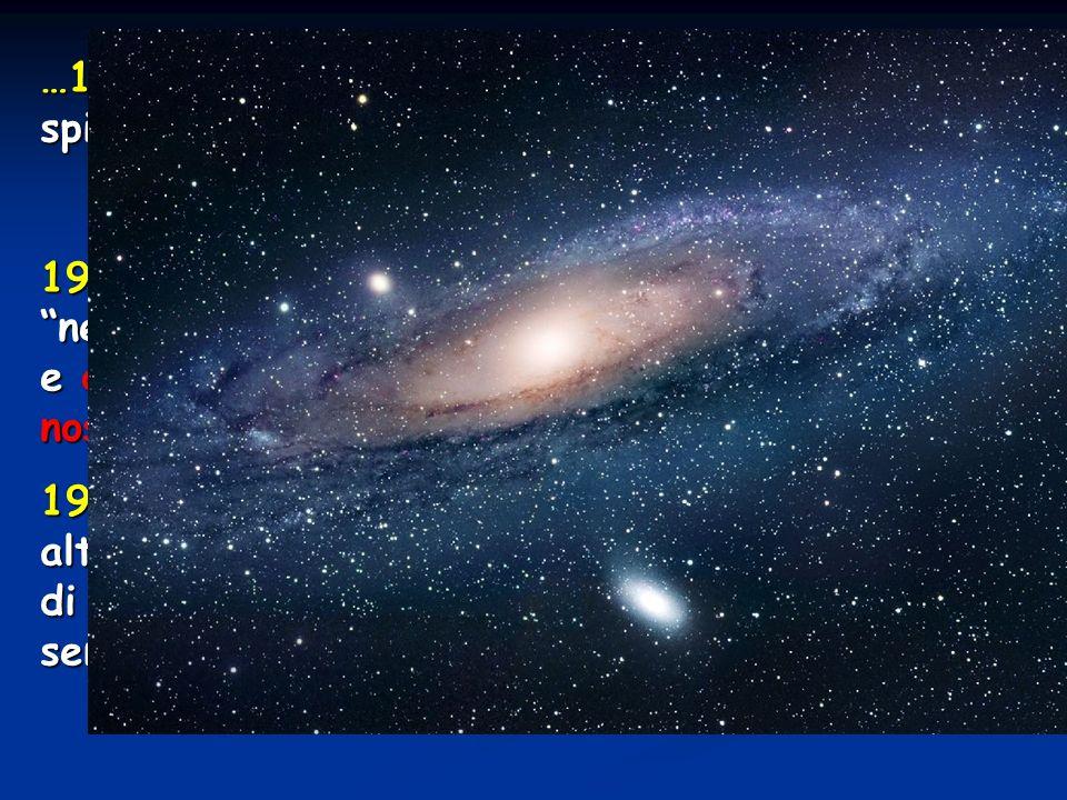 …1920 Si crede ancora che le nebulose a spirale facciano parte della nostra galassia Dibattito Shapley-Curtis Dibattito Shapley-Curtis 1923 Hubble mis