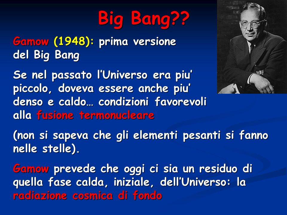 Big Bang?? Gamow (1948): prima versione del Big Bang Se nel passato lUniverso era piu piccolo, doveva essere anche piu denso e caldo… condizioni favor