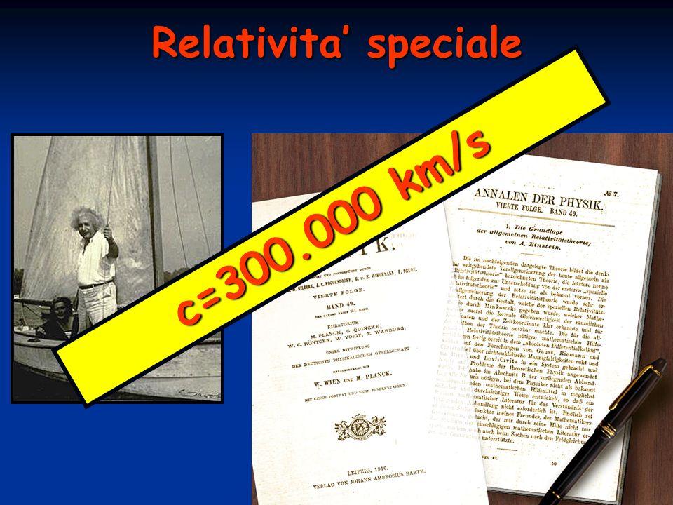 Relativita speciale c = 3 0 0. 0 0 0 k m / s