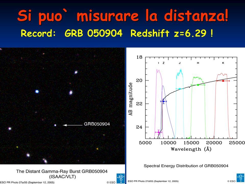 Si puo` misurare la distanza! Record: GRB 050904 Redshift z=6.29 !