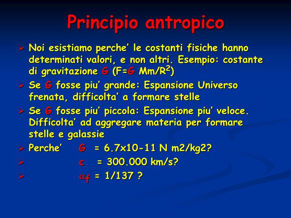 Principio antropico Noi esistiamo perche le costanti fisiche hanno determinati valori, e non altri. Esempio: costante di gravitazione G (F=G Mm/R 2 )