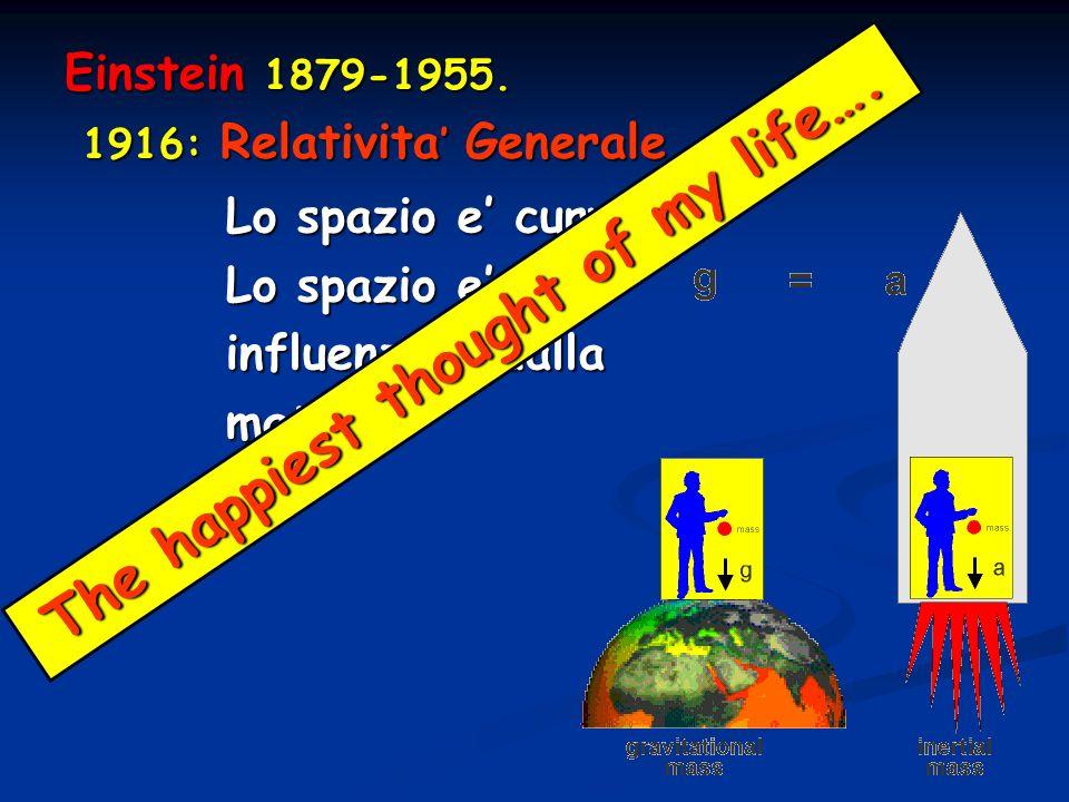 Einstein 1879-1955. 1916: Relativita Generale 1916: Relativita Generale Lo spazio e curvo Lo spazio e influenzato dalla materia T h e h a p p i e s t