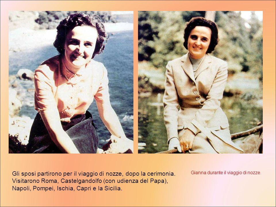 Gli sposi partirono per il viaggio di nozze, dopo la cerimonia. Visitarono Roma, Castelgandolfo (con udienza del Papa), Napoli, Pompei, Ischia, Capri