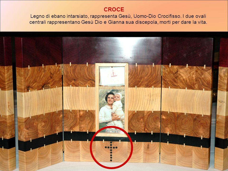 CROCE Legno di ebano intarsiato, rappresenta Gesù, Uomo-Dio Crocifisso. I due ovali centrali rappresentano Gesù Dio e Gianna sua discepola, morti per