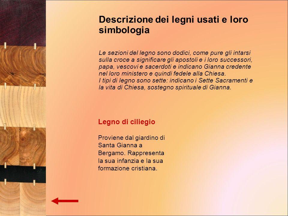 Legno di ciliegio Proviene dal giardino di Santa Gianna a Bergamo. Rappresenta la sua infanzia e la sua formazione cristiana. Descrizione dei legni us