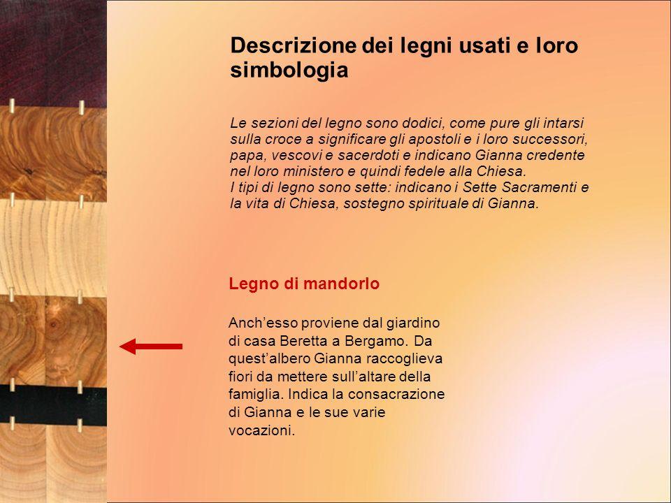 Legno di mandorlo Anchesso proviene dal giardino di casa Beretta a Bergamo. Da questalbero Gianna raccoglieva fiori da mettere sullaltare della famigl