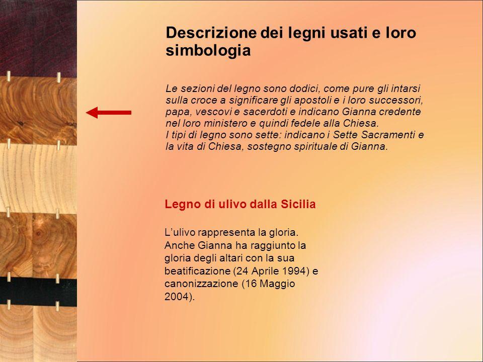 Legno di ulivo dalla Sicilia Lulivo rappresenta la gloria. Anche Gianna ha raggiunto la gloria degli altari con la sua beatificazione (24 Aprile 1994)