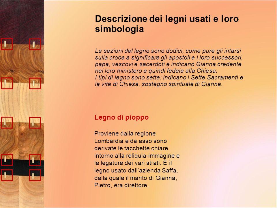 Legno di pioppo Proviene dalla regione Lombardia e da esso sono derivate le tacchette chiare intorno alla reliquia-immagine e le legature dei vari str
