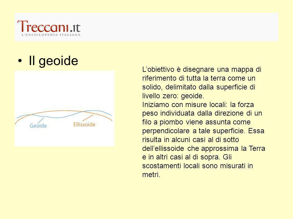 Il geoide Lobiettivo è disegnare una mappa di riferimento di tutta la terra come un solido, delimitato dalla superficie di livello zero: geoide. Inizi