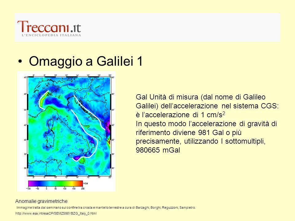 Omaggio a Galilei 1 Gal Unità di misura (dal nome di Galileo Galilei) dellaccelerazione nel sistema CGS: è laccelerazione di 1 cm/s 2 In questo modo l