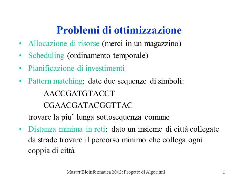 Master Bioinformatica 2002: Progetto di Algoritmi1 Problemi di ottimizzazione Allocazione di risorse (merci in un magazzino) Scheduling (ordinamento t