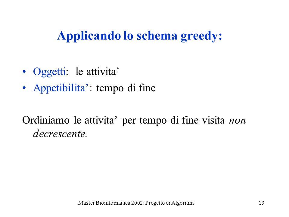 Master Bioinformatica 2002: Progetto di Algoritmi13 Applicando lo schema greedy: Oggetti: le attivita Appetibilita: tempo di fine Ordiniamo le attivit