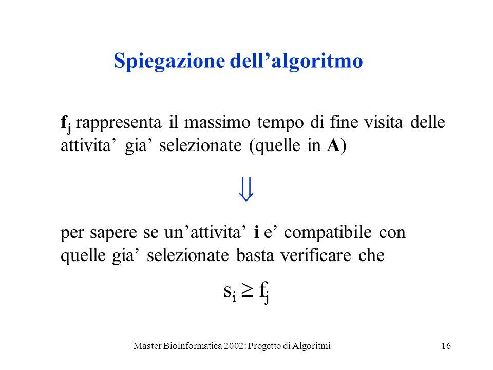 Master Bioinformatica 2002: Progetto di Algoritmi16 Spiegazione dellalgoritmo f j rappresenta il massimo tempo di fine visita delle attivita gia selez