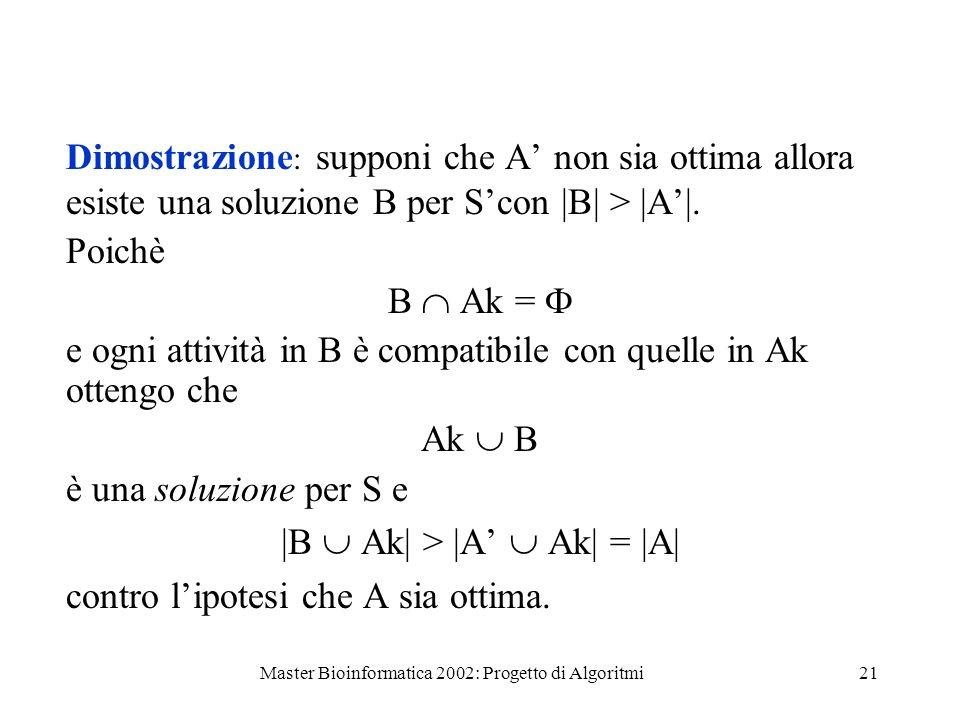 Master Bioinformatica 2002: Progetto di Algoritmi21 Dimostrazione : supponi che A non sia ottima allora esiste una soluzione B per Scon  B  >  A . Poi
