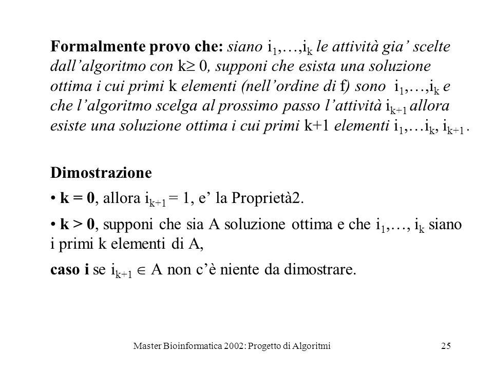 Master Bioinformatica 2002: Progetto di Algoritmi25 Formalmente provo che: siano i 1,…,i k le attività gia scelte dallalgoritmo con k 0, supponi che e