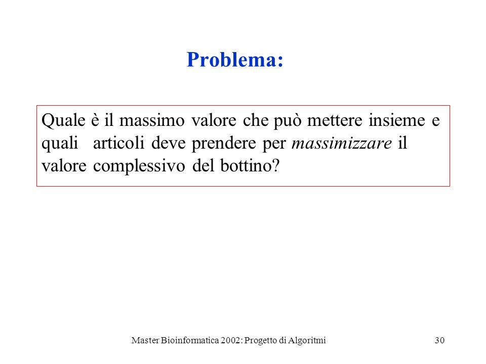 Master Bioinformatica 2002: Progetto di Algoritmi30 Problema: Quale è il massimo valore che può mettere insieme e quali articoli deve prendere per mas