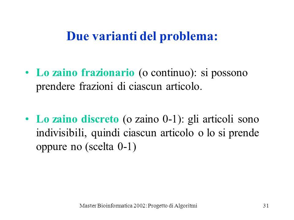 Master Bioinformatica 2002: Progetto di Algoritmi31 Due varianti del problema: Lo zaino frazionario (o continuo): si possono prendere frazioni di cias