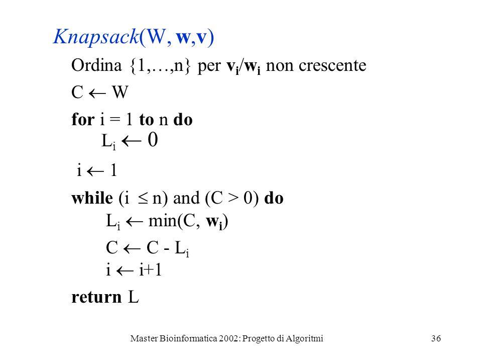 Master Bioinformatica 2002: Progetto di Algoritmi36 Knapsack(W, w,v) Ordina {1,…,n} per v i /w i non crescente C W for i = 1 to n do L i 0 i 1 while (